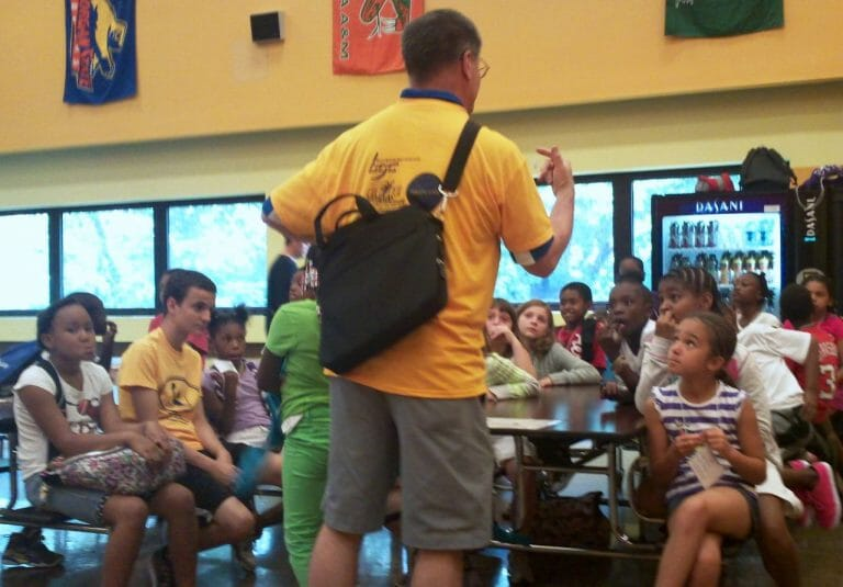 Mark talking to Summer Dreamers at U-Prep before heading to the swim pool