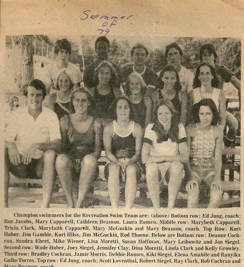 Summer swim team in newspaper